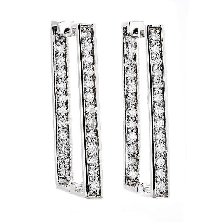 Modern 14K White Gold Unique Diamond Hoop Earrings - Brand New