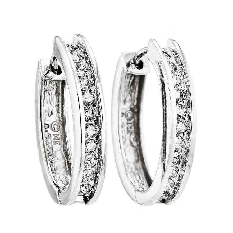 Exquisite & Charming 14K White Gold Diamond Huggie Hoop Earrings - Brand New