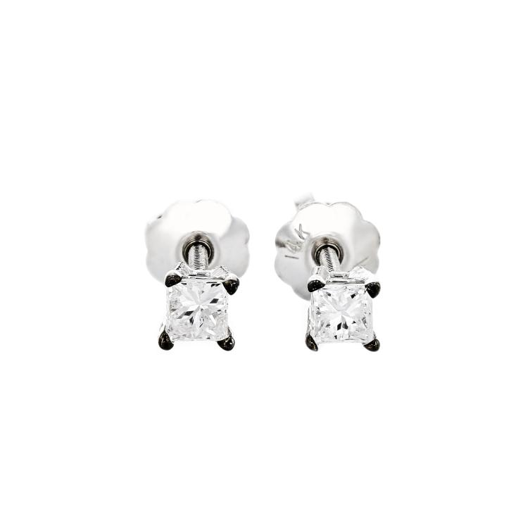 Elegant 14K White Gold Sparkling Diamond Stud Earrings - Brand New