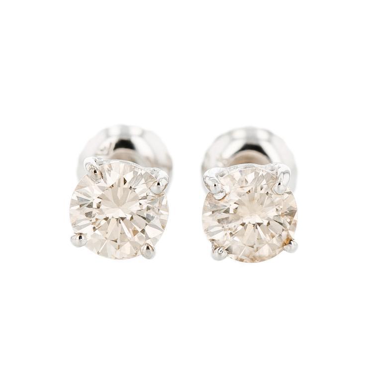 Elegant 14K White Gold Gorgeous Brown Diamond Stud Earrings 1.03CTW - Brand New
