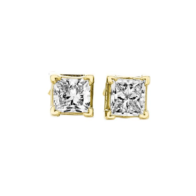 Beautiful 14K Yellow Gold Diamond Stud Earrings - 1.44CTW - Brand New