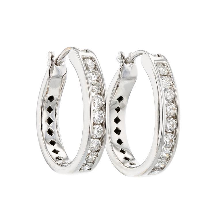 Charming 14K White Gold Women's Modern Diamond Earrings 1.60CTW - Brand New