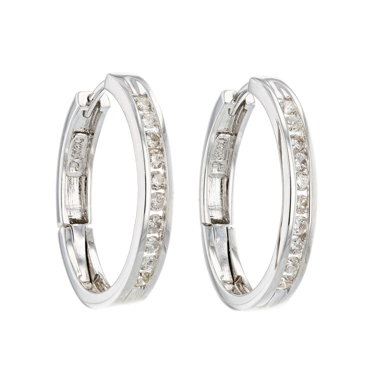 Elegant 14K White Gold Women's Modern Diamond Hoop Earrings  - Brand New