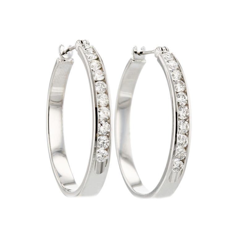Charming 14K White Gold Women's Modern Diamond Earrings - Brand New