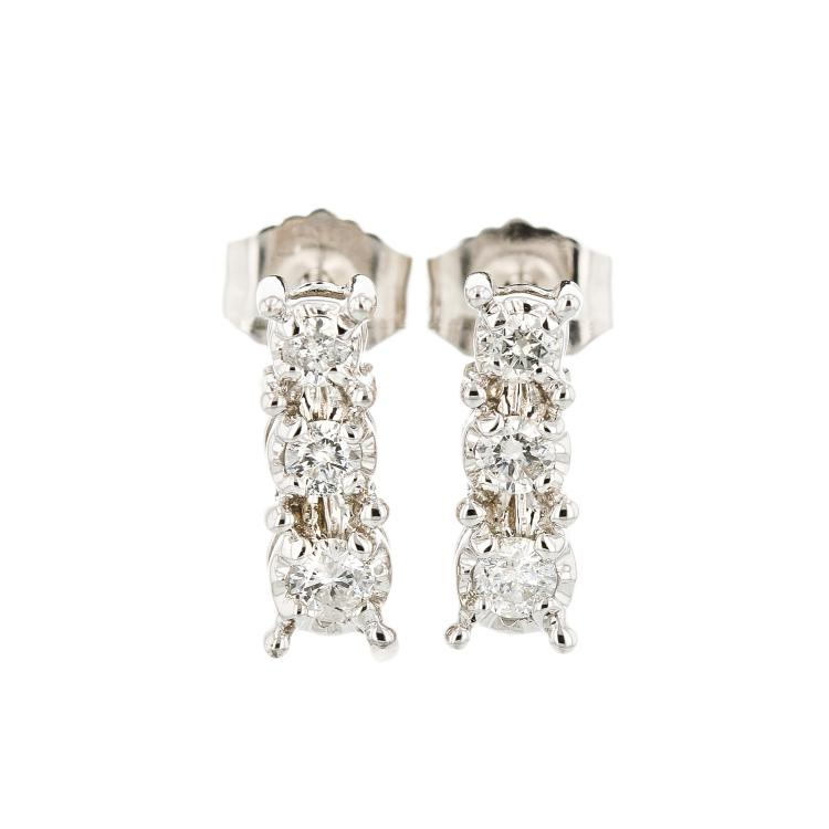 Exquisite 14K White Gold Women's Modern Diamond Earrings - Brand New