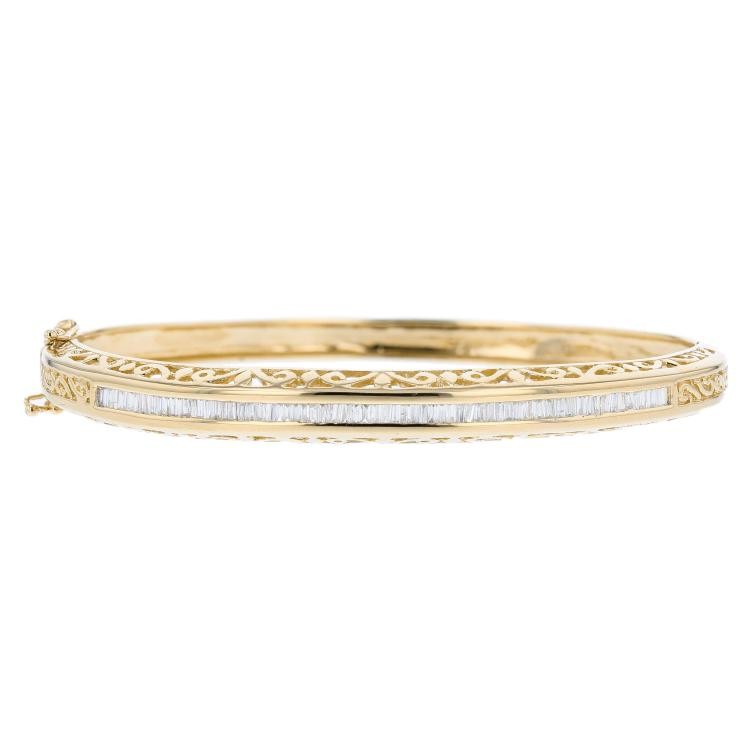 Charming 14K Yellow Gold Ladies Diamond Bangle Bracelet - Brand New