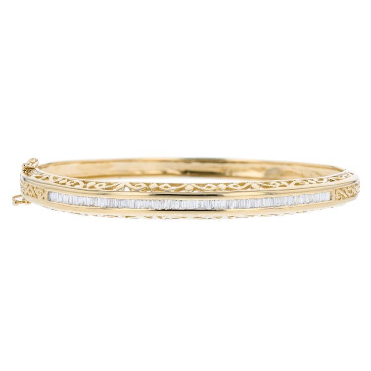 Charming 14K Yellow Gold Ladies Diamond Bangle Bracelet - Brand New