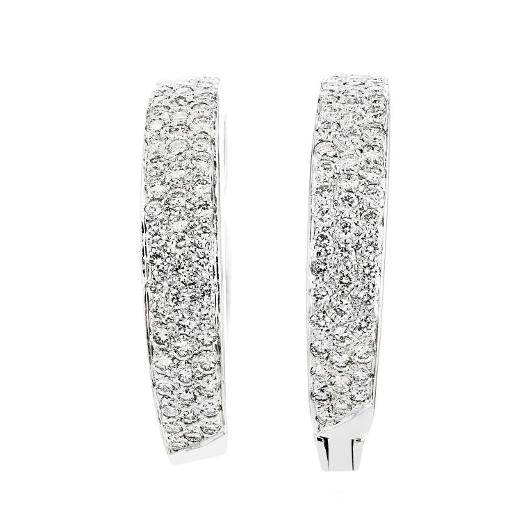 Stunning 18K White Gold Ladies Diamond Earrings - Brand New