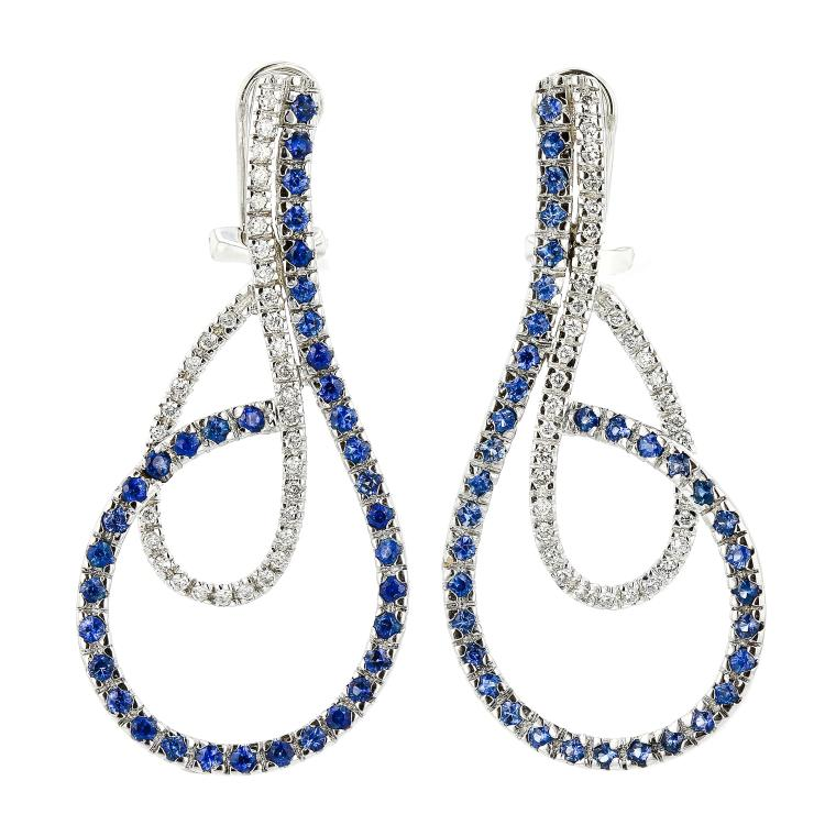 Stunning 14K White Gold Ladies Diamond & Sapphire Earrings - 2.88CTW - Brand New