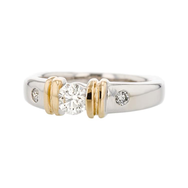 Elegant Modern 14K Two Tone White & Yellow Gold Women's Diamond Ring - Brand New