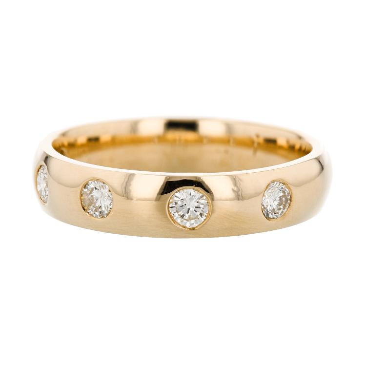 Modern 14K Yellow Gold Men's Engagement Diamond Ring Band - Brand New