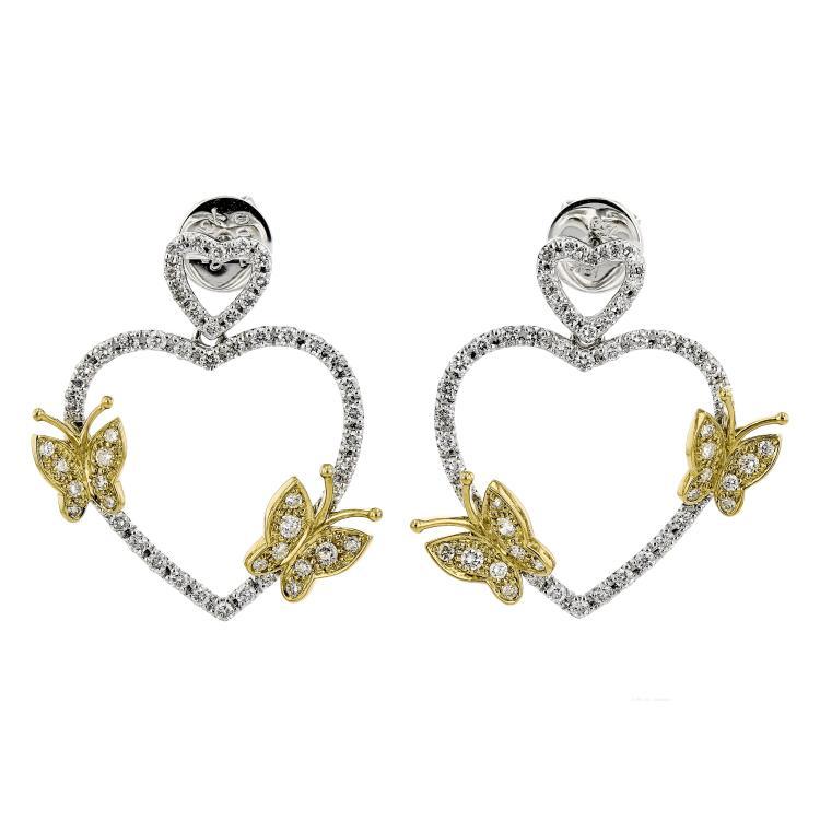 Fancy Heart-Shaped 18K White & Yellow Gold Diamond Butterflies Earrings - New