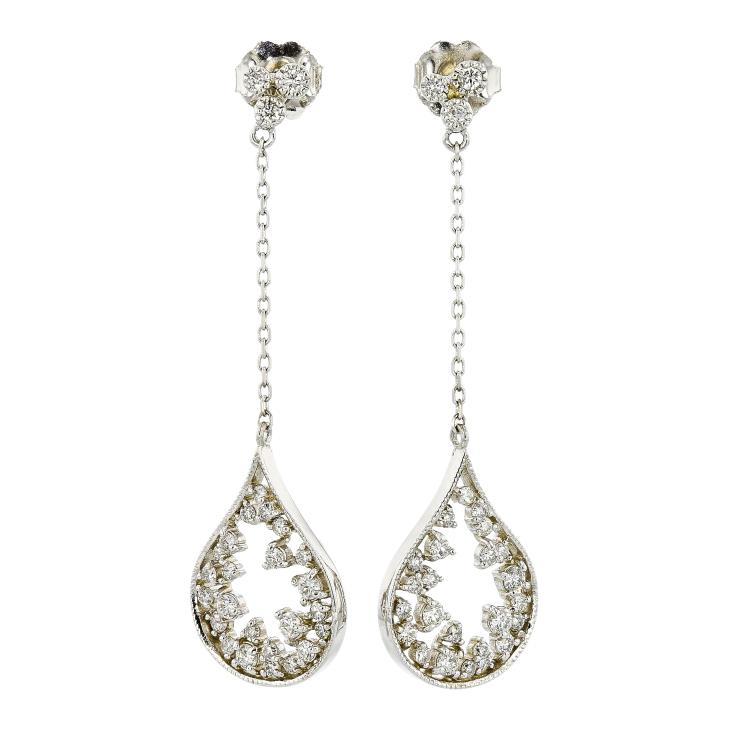 Exquisite 14K White Gold Ladies Uniques Diamond Earrings - Brand New