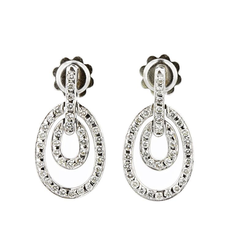 Exquisite 18K White Gold Women's Gorgeous Diamond Earrings - Brand New