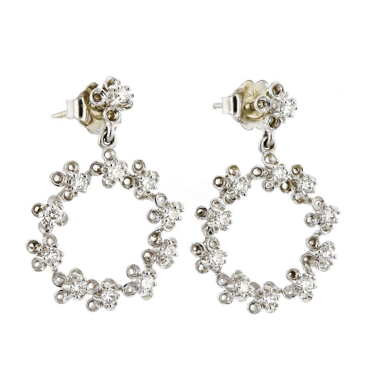Fancy 14K White Gold Women's Sparkling Diamond Earrings - Brand New