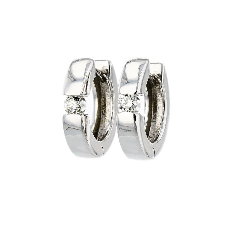 Stylish & Modern 14K White Gold Women's Diamond Hoop Earrings - Brand New