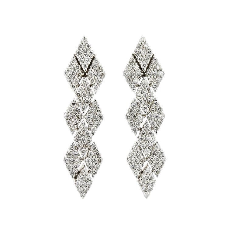 Modern 18K White Gold Women's Exquisite Diamond Earrings 1.72 CTW - Brand New