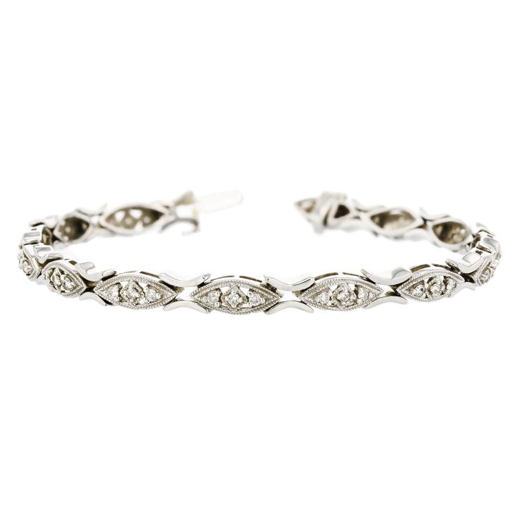 Elegant & Beautiful 14K White Gold Women's Diamond Bracelet - Brand New