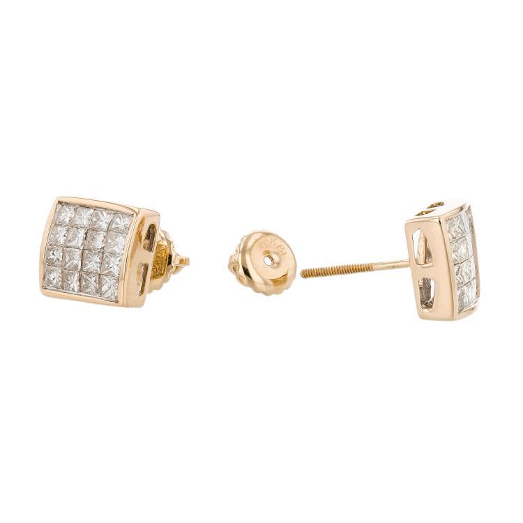 Elegant 14K Yellow Gold Women's Diamond Earrings 1.12CTW - Brand New