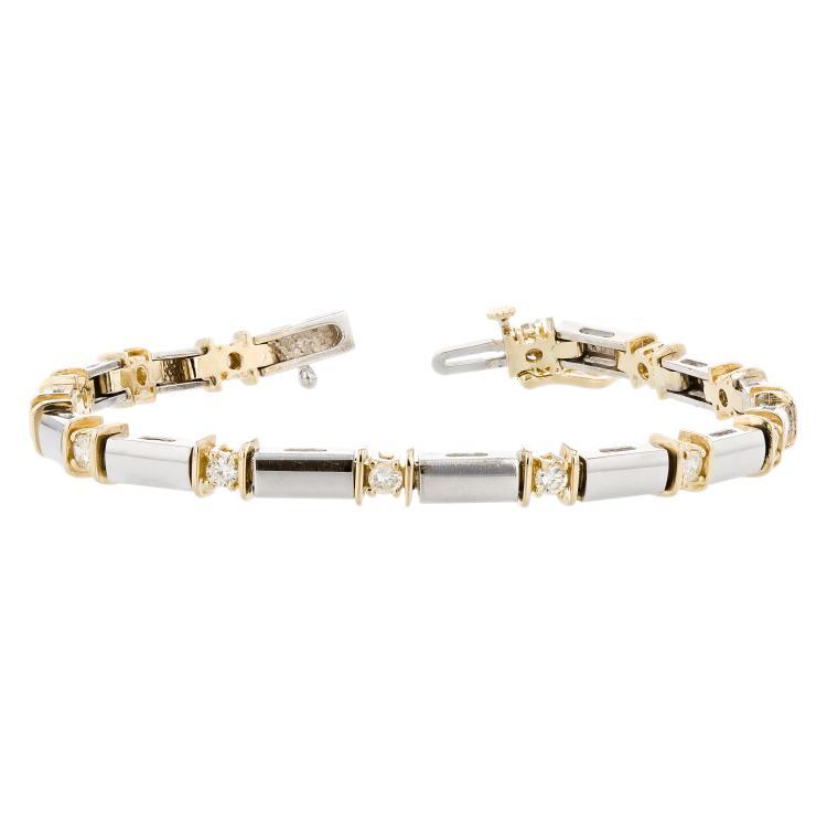 Elegant Modern 14K White & Yellow Gold Diamond Ladies Bracelet - Brand New