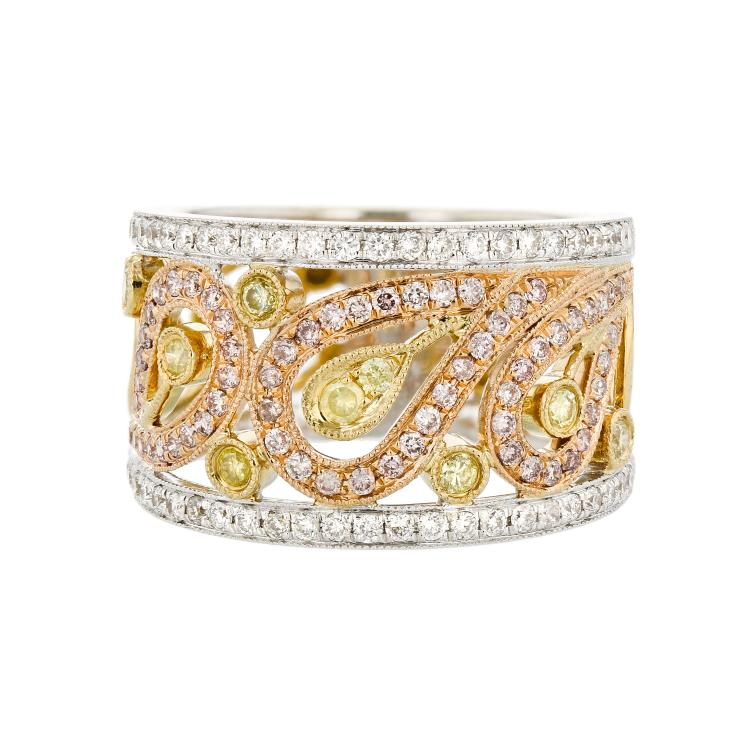Gorgeous 18K White & Yellow Gold Women's Diamond Ring - Brand New