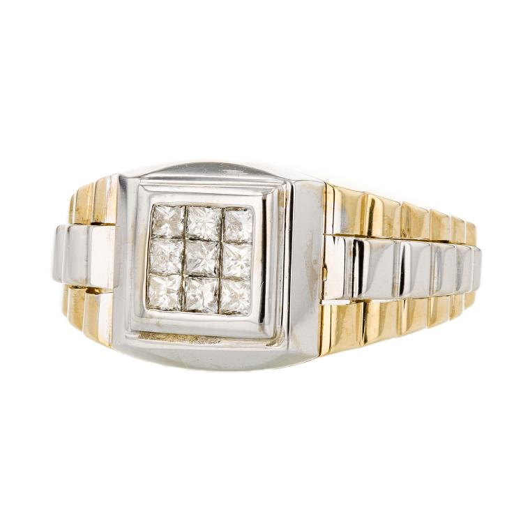 18K White & Yellow Gold Men's Diamond Signet Ring - Brand New