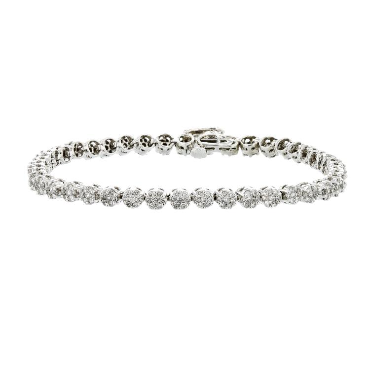 Stunning 14K White Gold Diamond Women's Tennis Bracelet 3.15CTW - Brand New