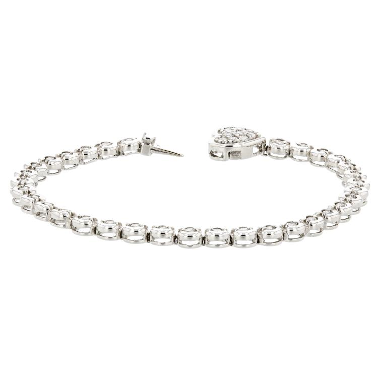 Charming 14K White Gold Diamond 1.18CTW Women's Heart-Tag Bracelet - Brand New