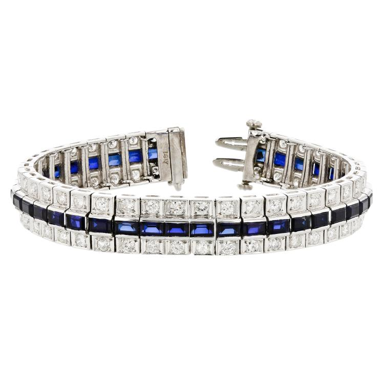 Beautiful 14K White Gold Diamond 2.25CTW & Sapphires 6.05CTW Women's Bracelet - Brand New