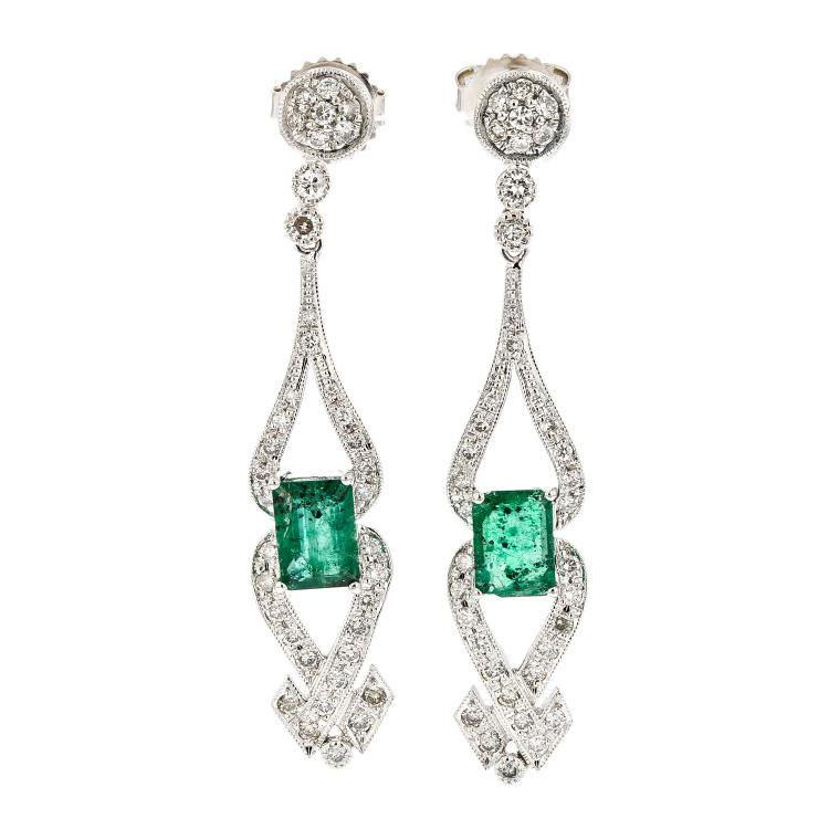 Charming 14K White Gold Women's Diamond & Emerald Earrings - Brand New