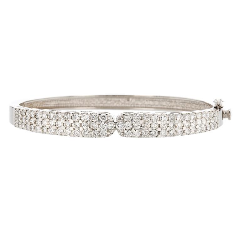Elegant 14K White Gold Diamond 4.21CTW Women's Bangle Bracelet - Brand New