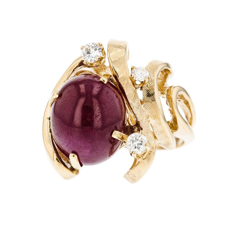 Unique Modern 14K Yellow Gold Diamond & Red Ruby Ladies Statement Ring - New