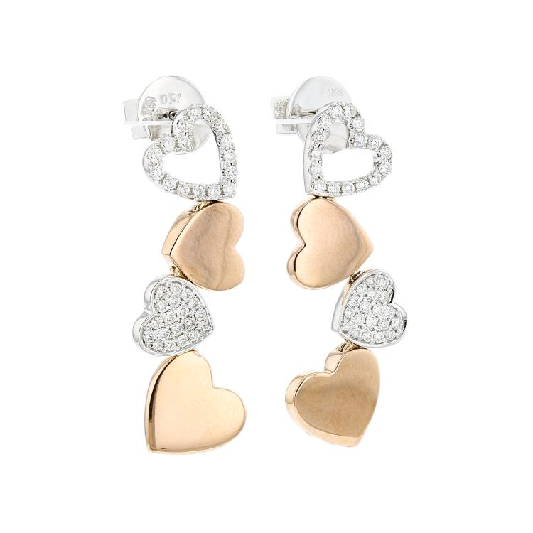 Charming 18K White & Yellow Gold Heart-Shaped Women's Diamond Earrings - New
