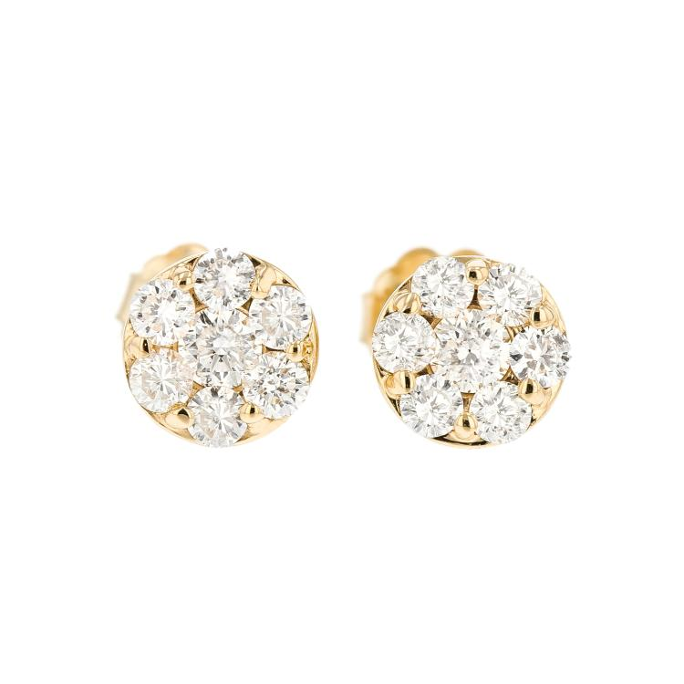 Beautiful 14K Yellow Gold Women's Elegant Diamond Stud Earrings - Brand New