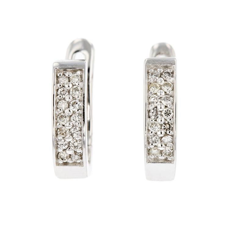 Exquisite & Stylish 14K White Gold Women's Diamond Earrings - Brand New