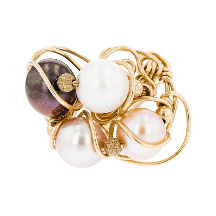 Exquisite 14K Yellow Gold Women's Charming Tahitian Pearl Ring - Brand New
