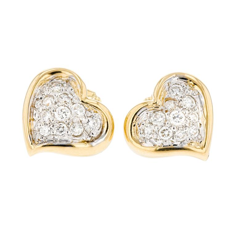 Charming 18K Yellow Gold Heart-Shaped Women's Diamond Earrings - Brand New