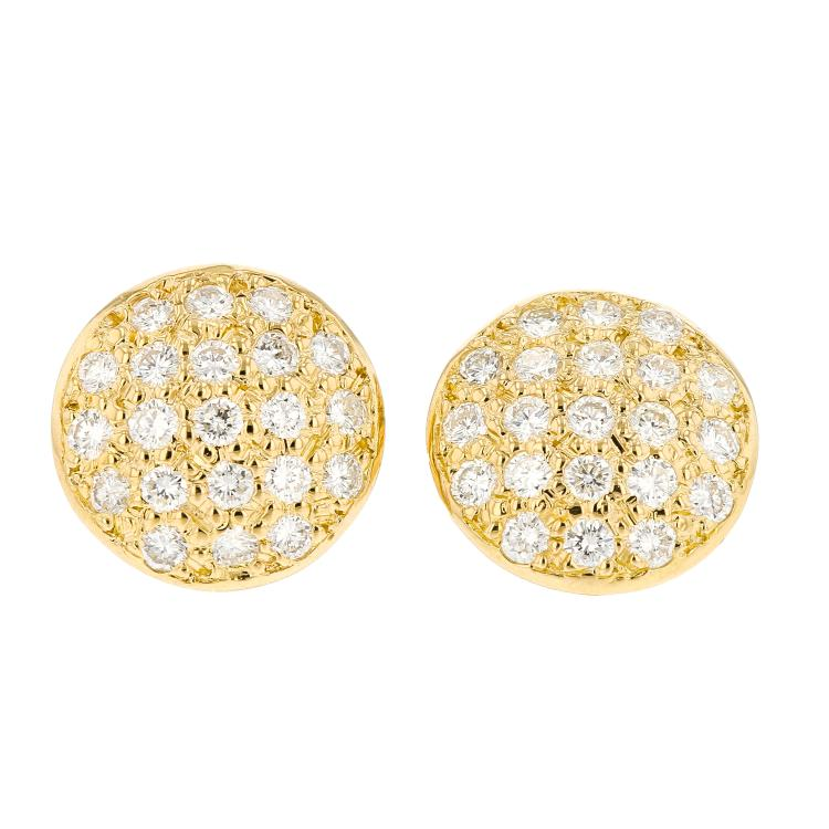 Fancy 14K Yellow Gold Women's Gorgeous Diamond Stud Earrings - Brand New