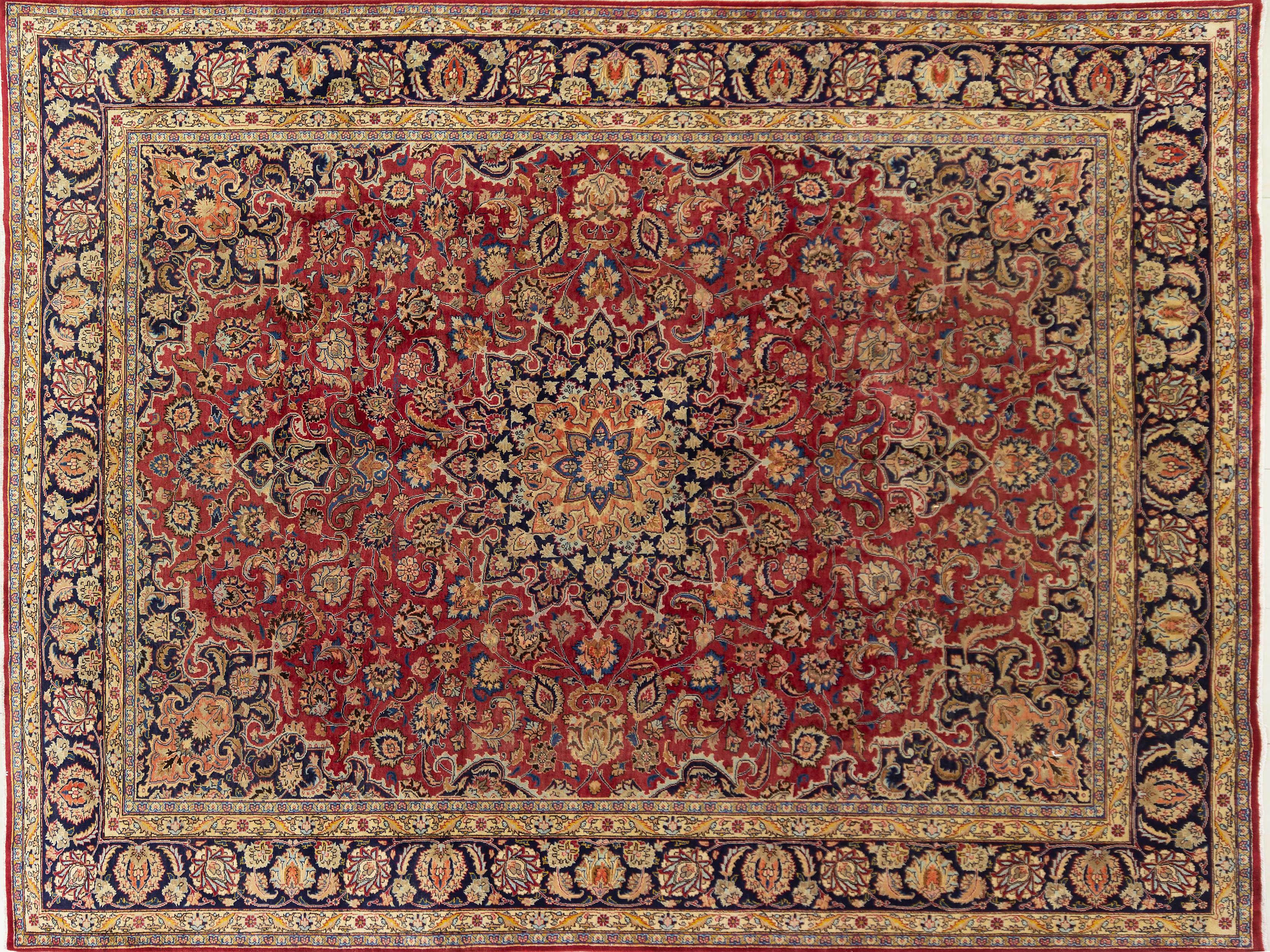 A Persian Hand Knotted Mashad Rug, 378 x 286
