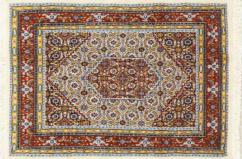 A Persian Hand Knotted Moud Rug, 112 x 80