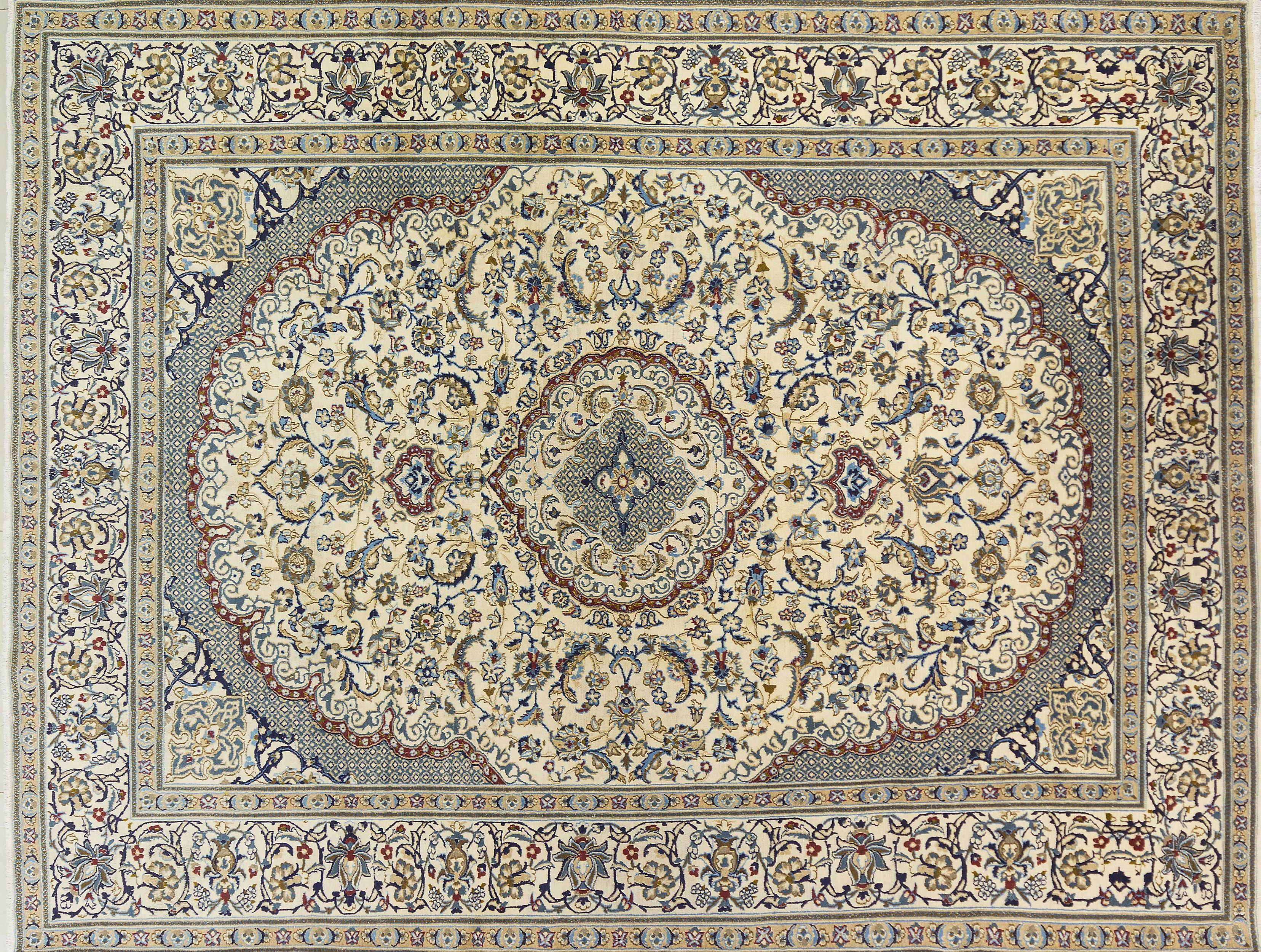 A Persian Hand Knotted Nain Carpet, 382 x 295