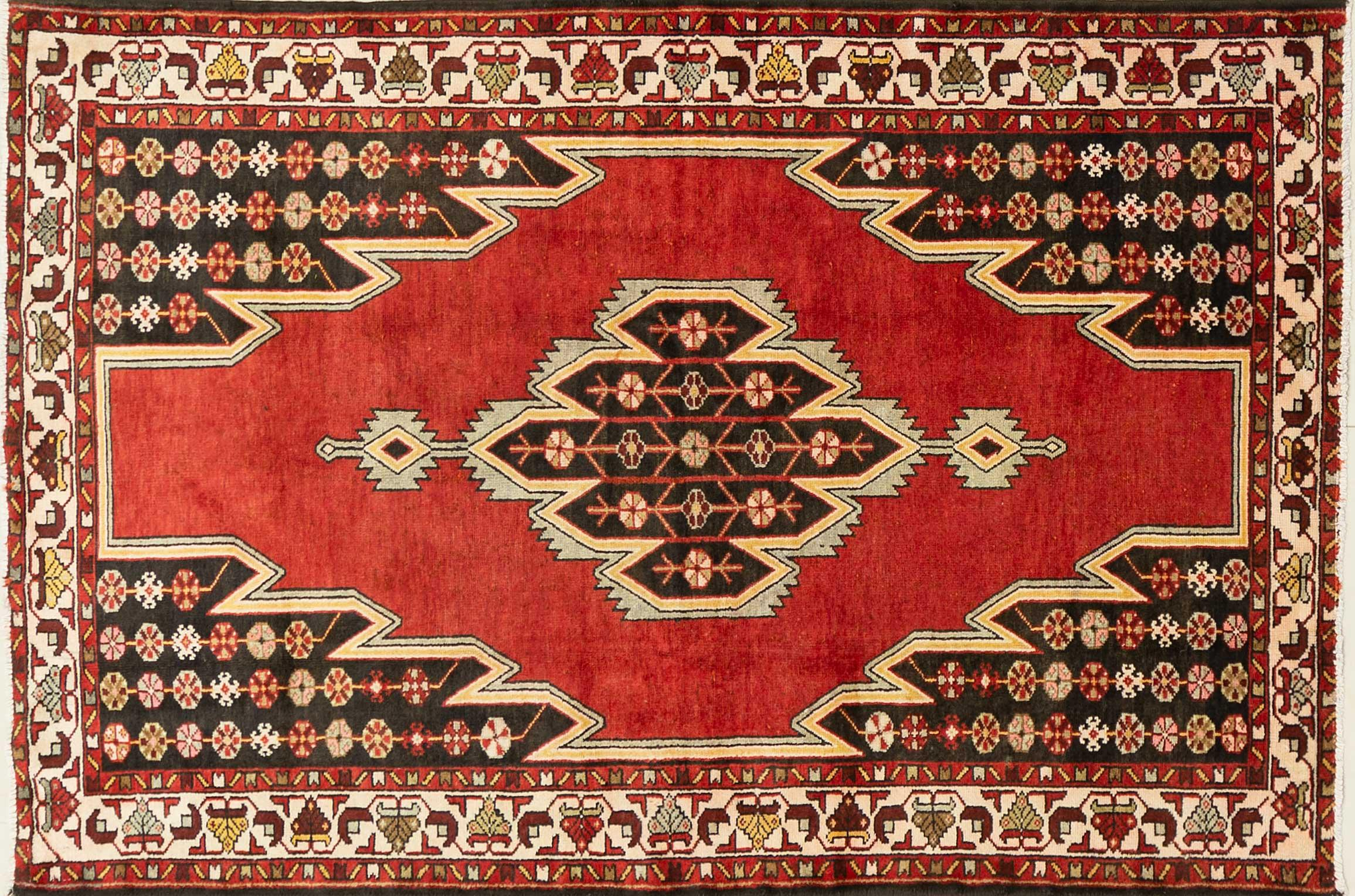 A Persian Hand Knotted Mazlaghan Rug, 203 x 134