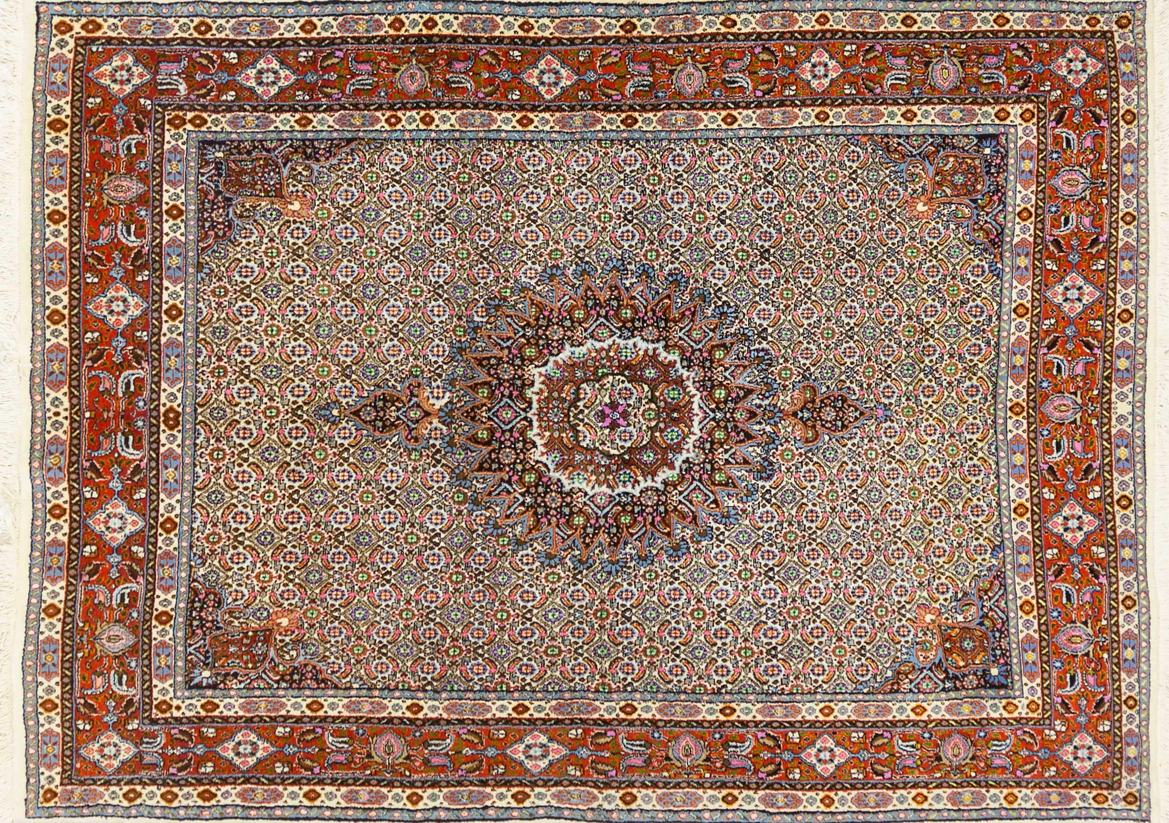 A Persian Hand Knotted Moud Rug, 200 x 152