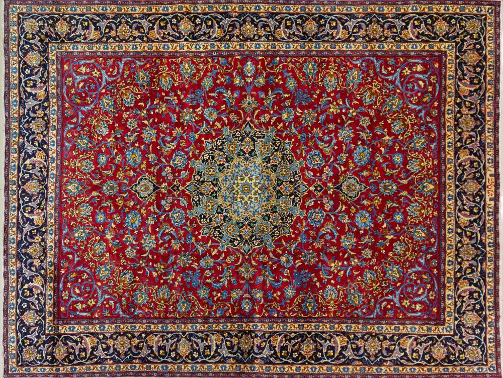 A Persian Hand Knotted Mashad Carpet, 383 x 290