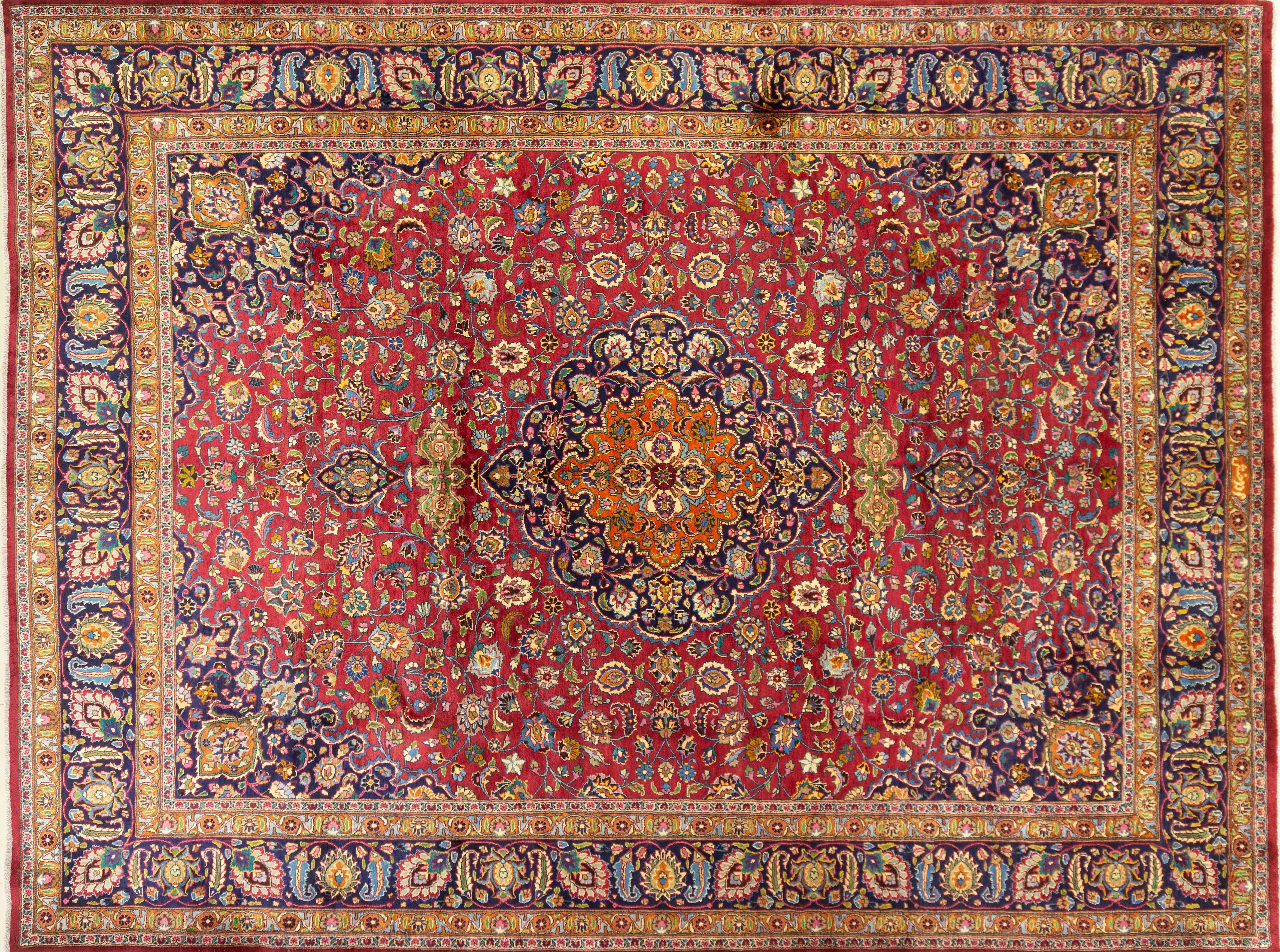 A Persian Hand Knotted Mashad Carpet, 398 x 300