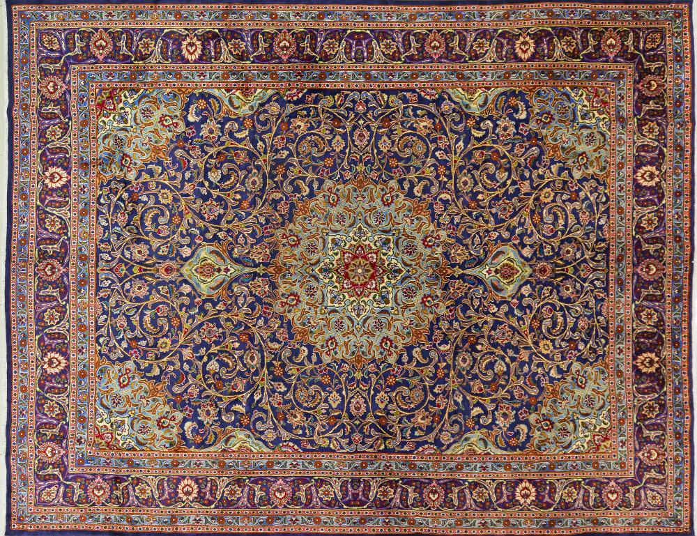 A Persian Hand Knotted Mashad Carpet, 375 x 292