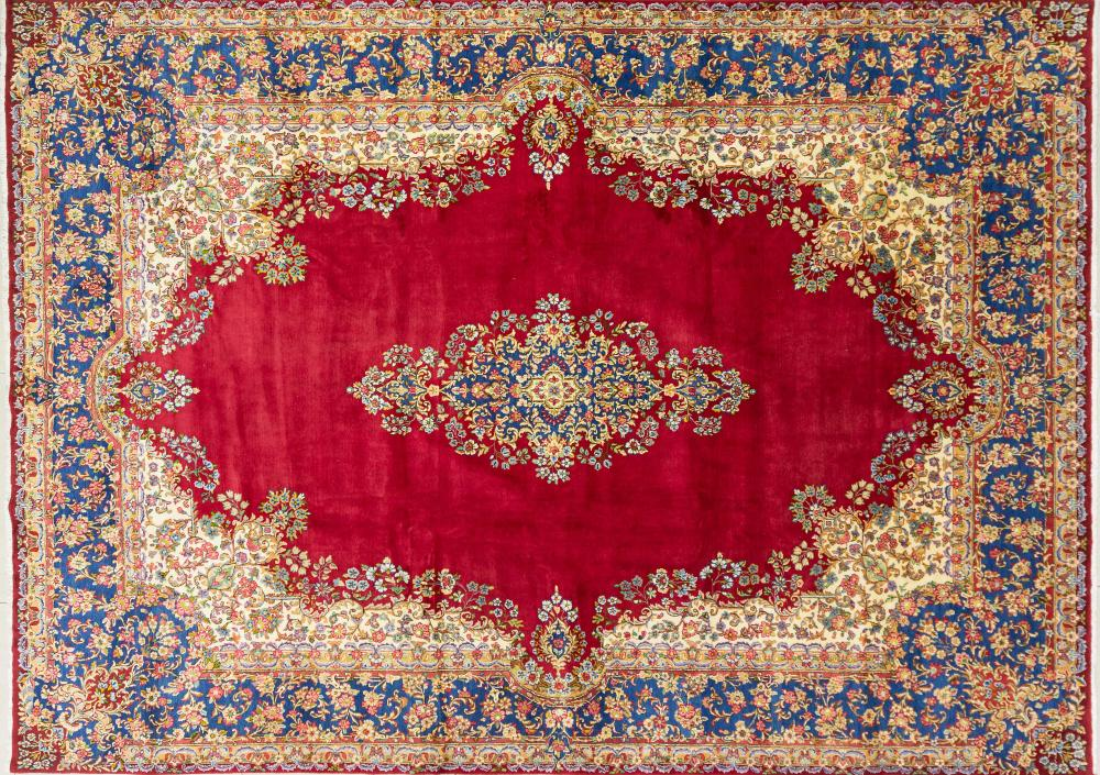 A Persian Hand Knotted Kerman Carpet, 375 x 270