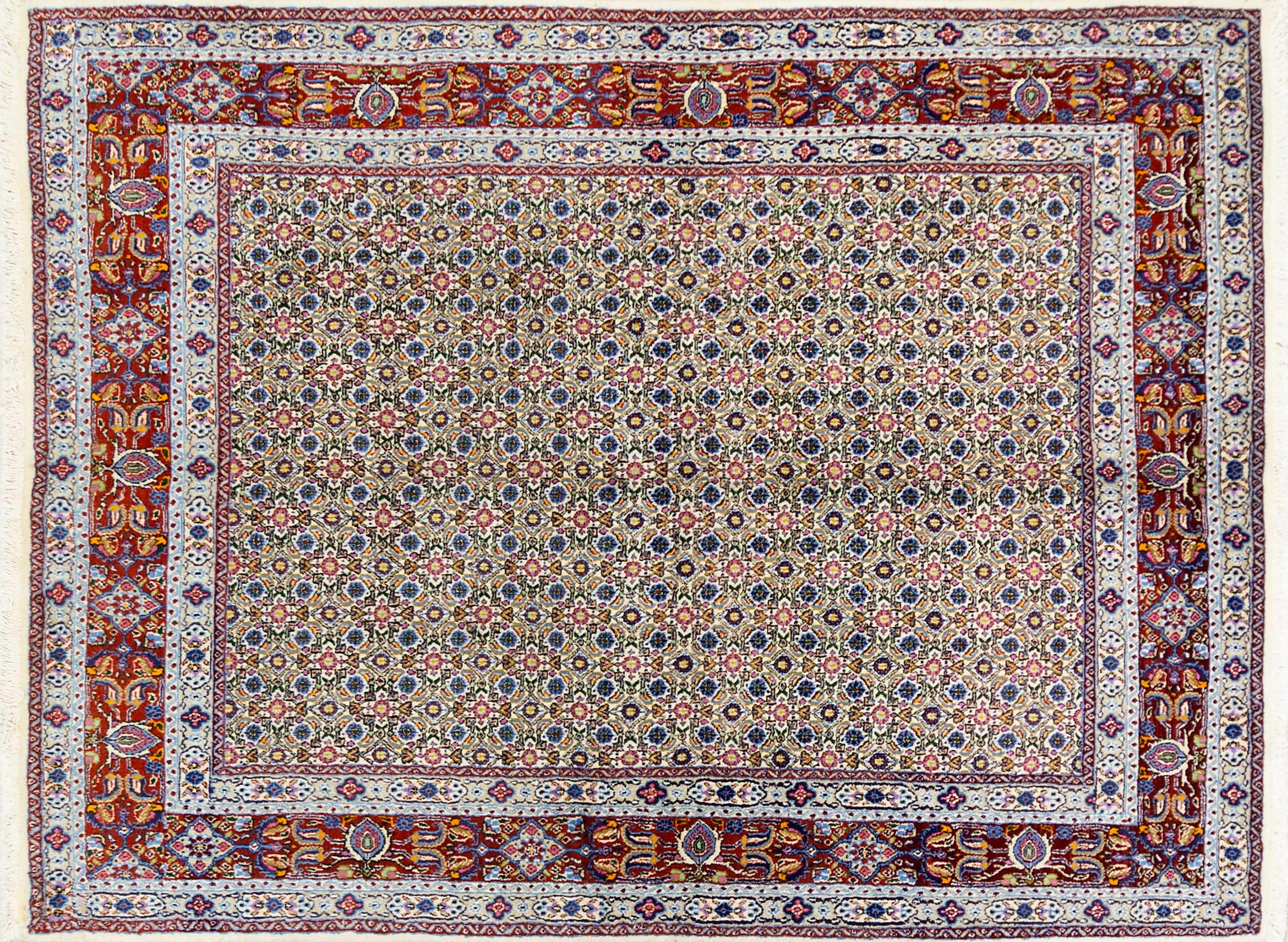 A Persian Hand Knotted Moud Rug, 195 x 148