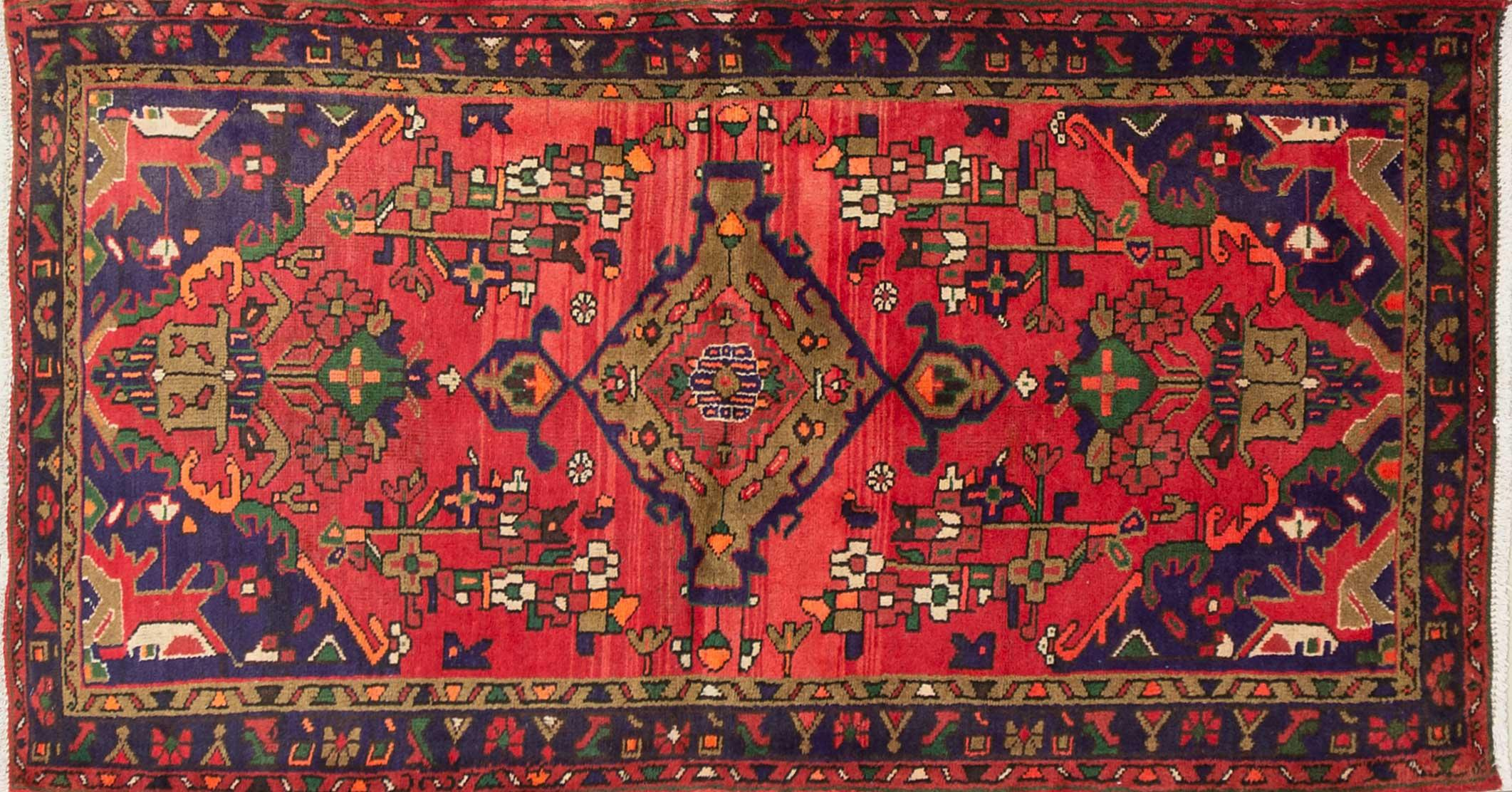 A Persian Hand Knotted Hamadan Rug, 193 x 96