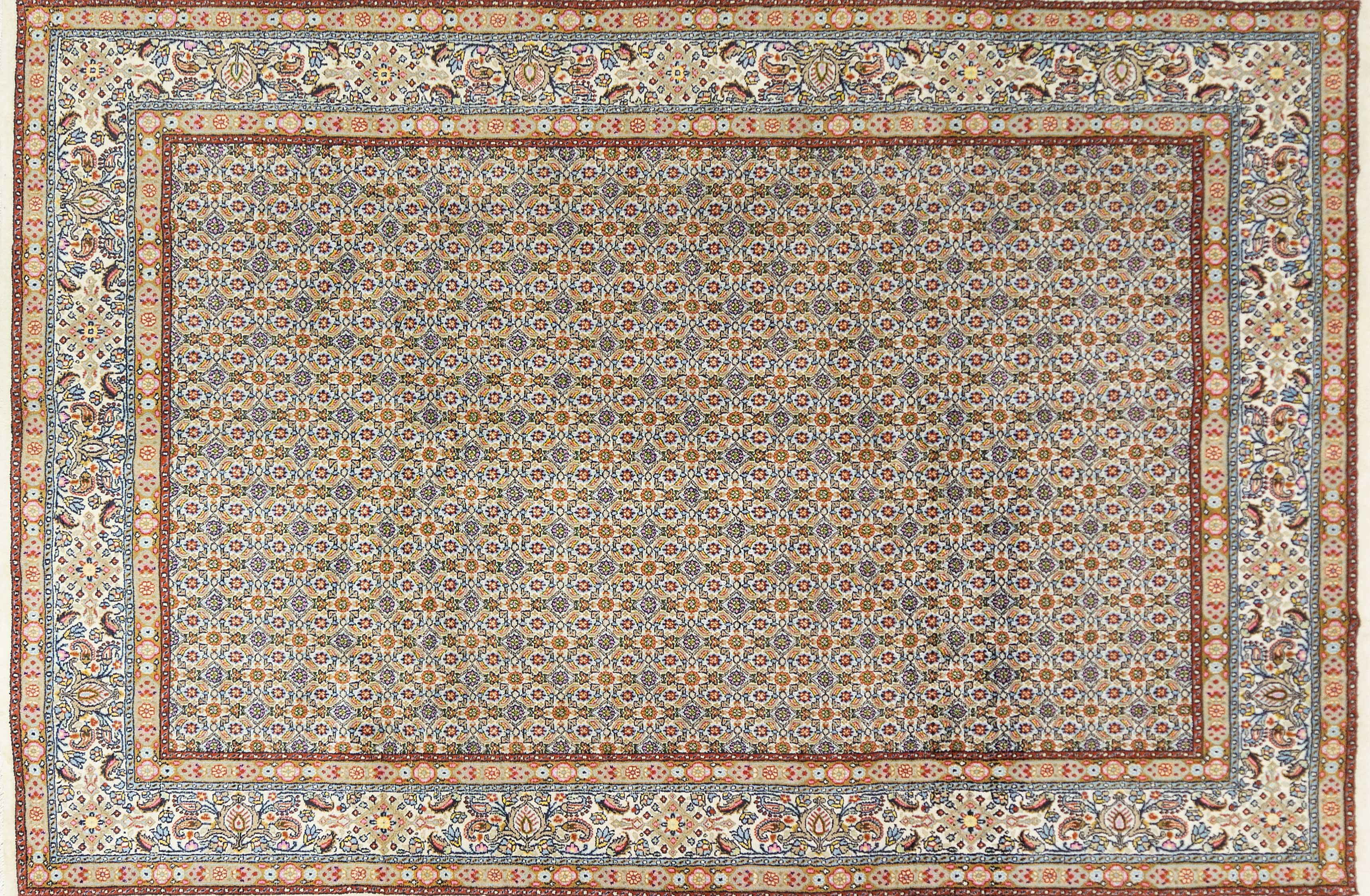 A Persian Hand Knotted Moud Carpet, 302 x 200